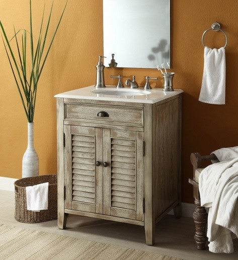 Unfinished wooden bathroom vanities with single sinks