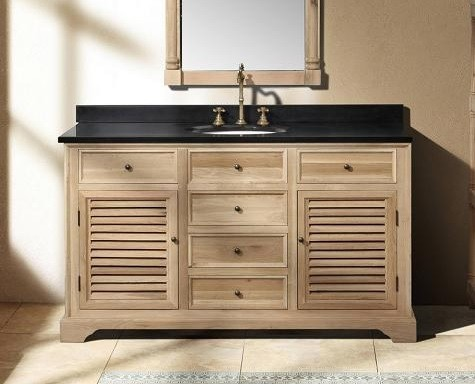 Unfinished wooden natural oak bathroom vanities with single sink and unique faucet