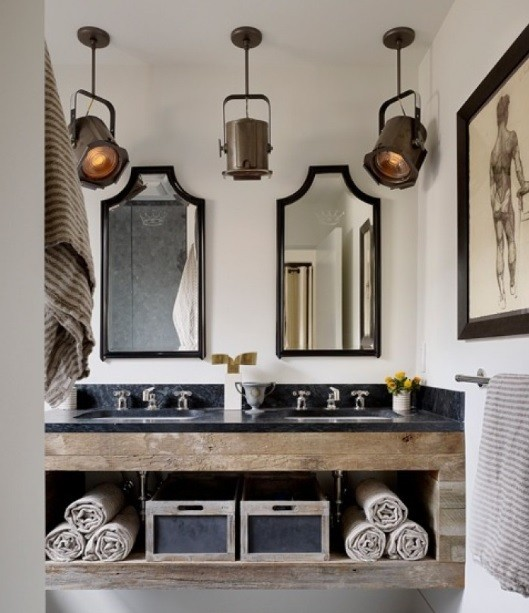 Unique rustic bathroom lighting fixtures home interiors Cool bathroom lighting ideas