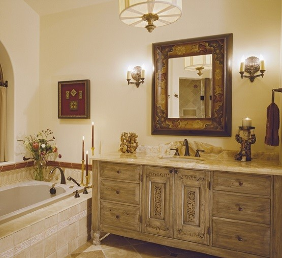 Vintage unfinished wooden bathroom vanities with decorative framed mirrors