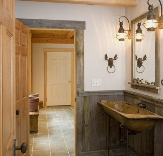 wooden bathroom decor with rustic bathroom lighting - Bathroom Ideas Lighting