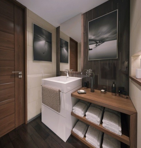 Wooden storage ideas for small bathrooms