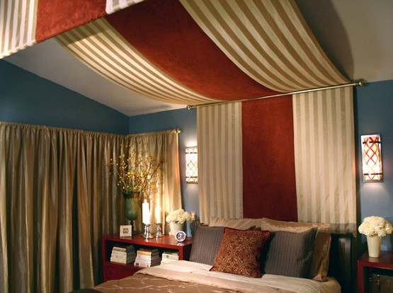 Diy bed canopy drapes with red and brown striped drapes for How to drape a canopy bed