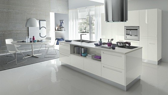 White Contemporary Kitchen Design With