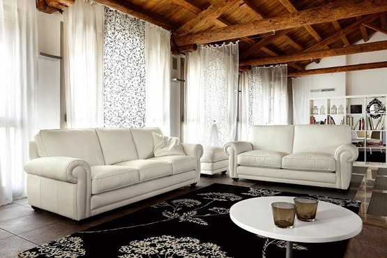 Chic sense with leather living room furniture sets home interiors for Living room ideas with white leather couches