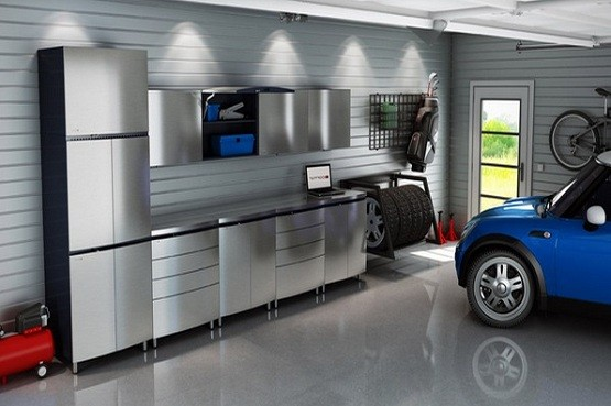 Garage Storage Cabinets with Doors Benefits  Avoiding floor mess with  metallic glossy ikea garage storage cabinets with doors