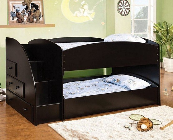 Black twin bunk beds with stairs that can separate