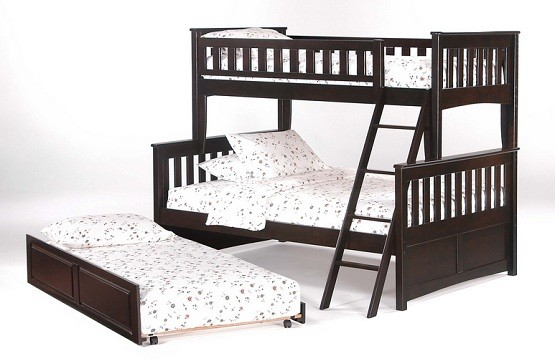 Black wooden twin bunk beds with trundle and white bedding sets