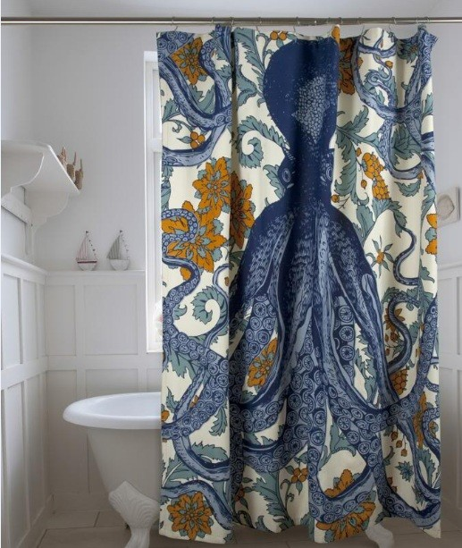 Blue yellow bathroom shower curtain ideas with octopus motif