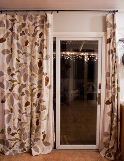 Brown ring clips sliding glass door curtains with leaf motif home sliding glass door curtains ideas to decorate your home brown ring clips sliding glass door curtains with leaf motif planetlyrics Choice Image