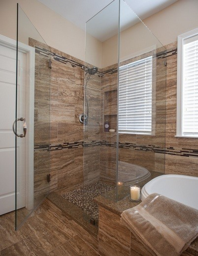 Brown Tile Bathroom Shower Remodel Ideas