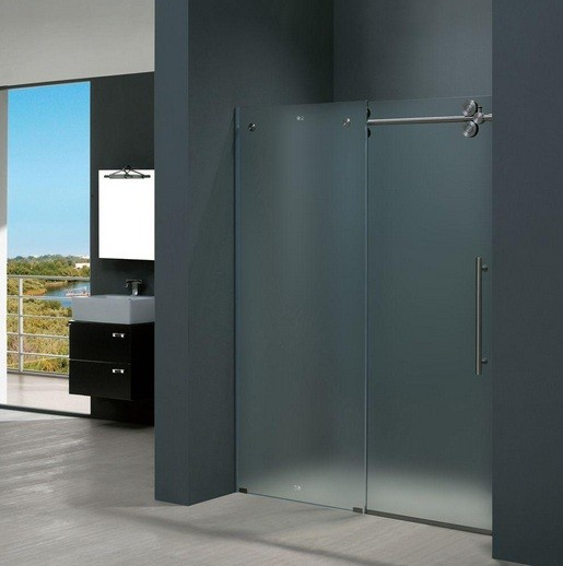 Bypass shower stall doors with frosted glass