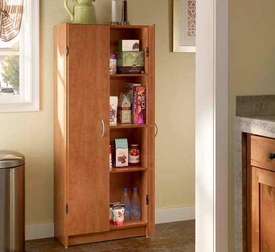 Cheap Freestanding Pantry Cabinet With Natural Finish