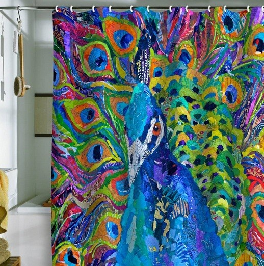 Colorful bathroom shower curtain ideas with peacock motif