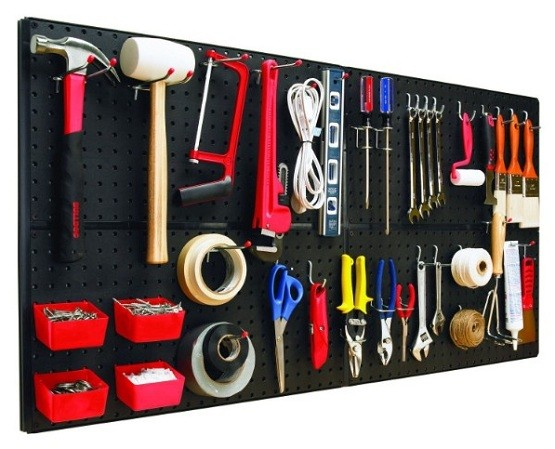 Complete pegboard system as garage wall organization