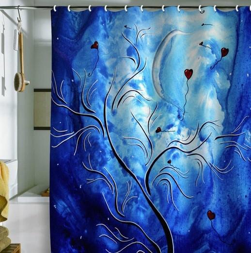 Dramatic trees curtain motifs on blue bathroom shower curtain ideas