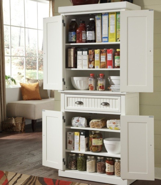 Freestanding Pantry Cabinet With Drawer And 2 Cabinet Doors