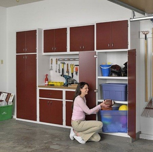 Garage cabinets with doors can easily manage the tools and any stuff