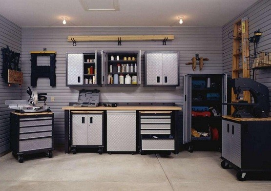 Garage cabinets with doors make the garage look more presentable