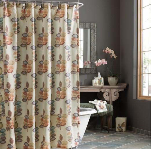 Mosaic leaves bathroom shower curtain ideas for focal point