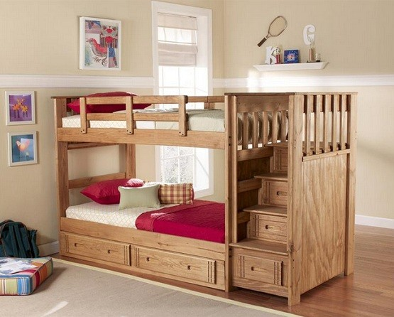 Natural finish twin bunk beds with stairs and drawer