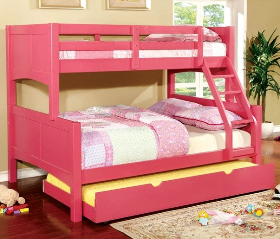 Pink twin bunk beds with trundle sets