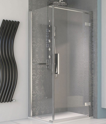 Pivot shower stall doors with silver frame and clear glass