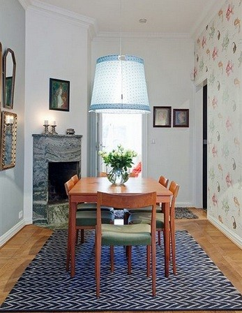 Pleasant color and proper gap of light fixtures for dining room