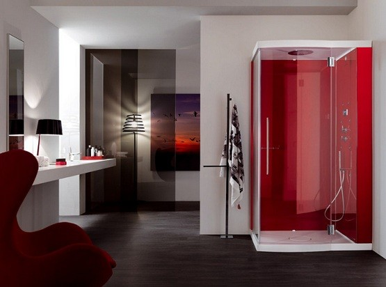 Red shower cabin for luxurious bathroom shower remodel ideas