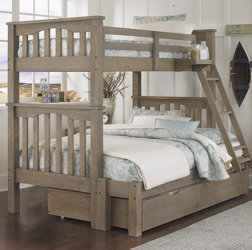 Rustic twin bunk beds with trundle