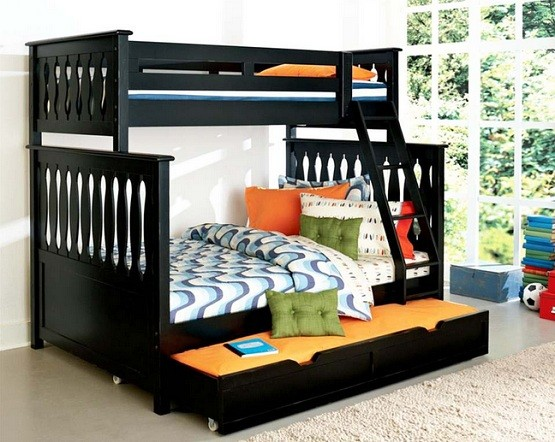 Simple black twin bunk beds with trundle for space saving