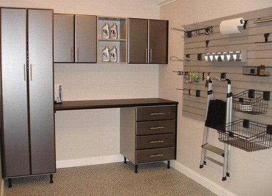 Small garage cabinets with doors and desk