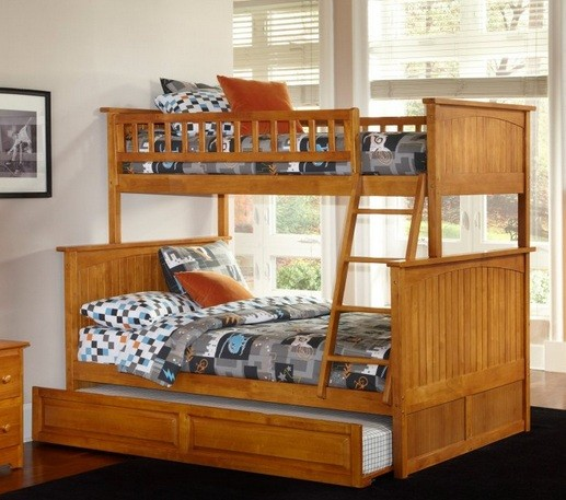 Small twin bunk beds with trundle for space saving