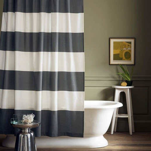 Striped Black And White Bathroom Shower Curtain Ideas