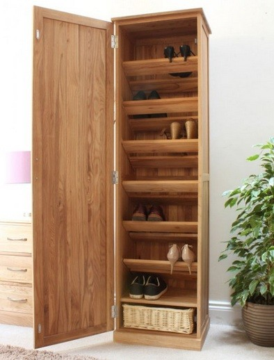Tall Oak Shoe Cabinet With Doors Natural Finish Oak