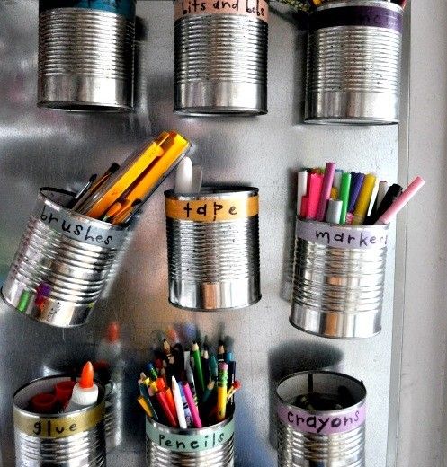 Tin cans for garage organization ideas