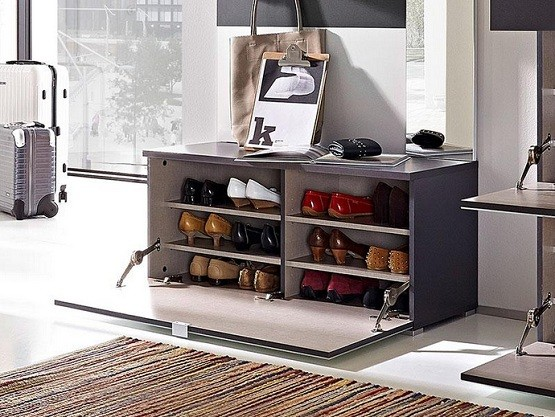 Trendy shoe cabinet with doors for the hallway