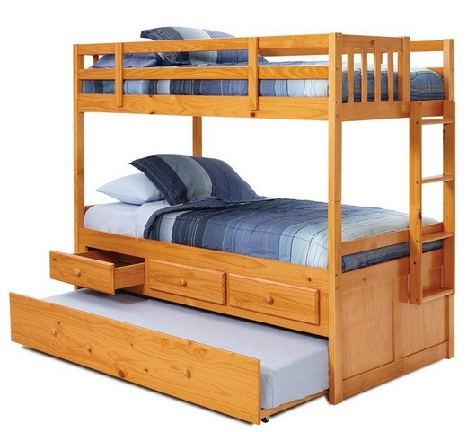 Twin bunk beds with trundle and storage drawers