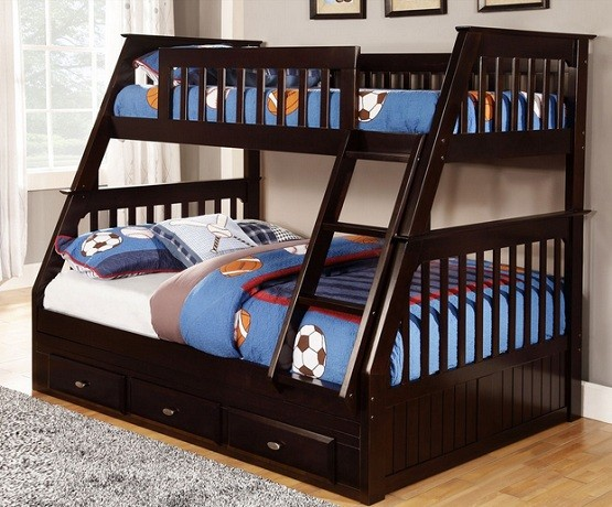 Twin over full bunk bed with stairs and sport themed bedding