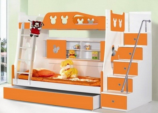 White orange twin bunk beds with trundle and and bookcase