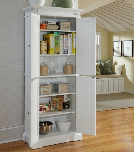 White polished freestanding pantry cabinet