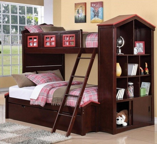 Wooden twin bunk beds with stairs and bookselvhes