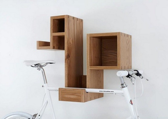 Bike rack for garage with additional storage shelves
