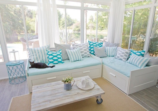 Blue And White Daybeds With Storage For Living Room