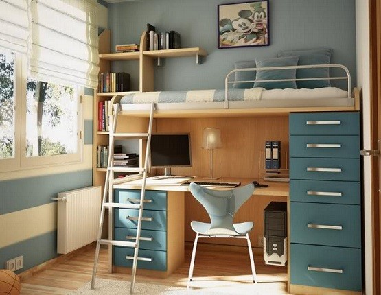 Bunk bed with desk underneath and storage drawers