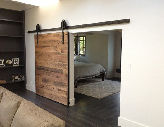 Contemporary interior sliding barn doors for bedroom