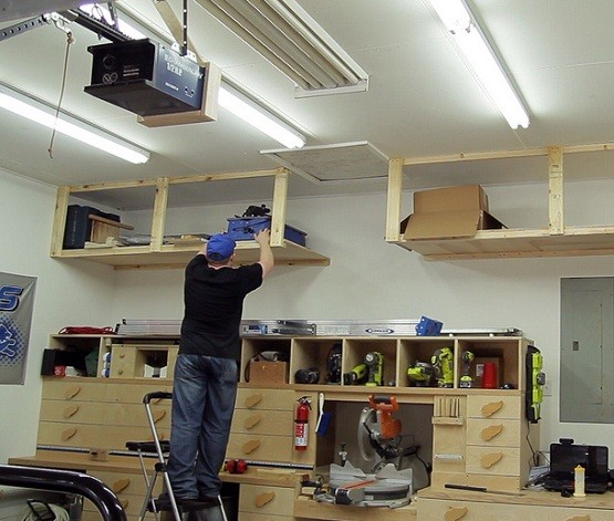 Diy garage ceiling shelves plans with lumber