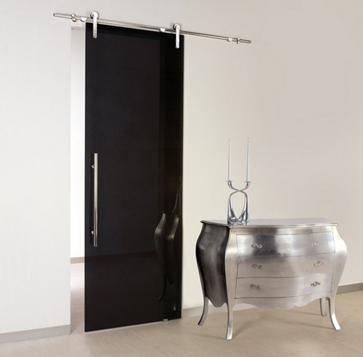 Glass interior sliding barn doors with stainless steel hardware