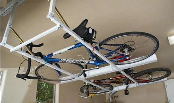 bike rack for garage get it to saving space home interiors. Black Bedroom Furniture Sets. Home Design Ideas