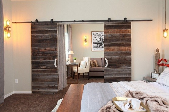 Interior double sliding barn doors with modern door hardware